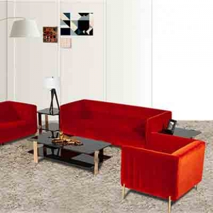 Stylish and comfortable velvet metal legs living room sofa