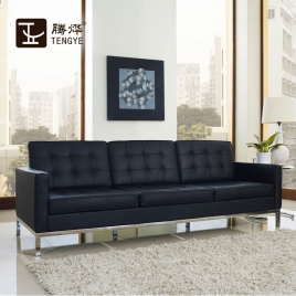 China TENGYE furniture Florence, leather button armrest sofa oem Chinese manufacturers factory