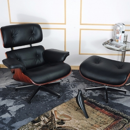 China Tengye Eames Chair Deep Sour + Black Leather China Factory Supply factory