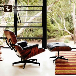 China Tengye Eames lazy walnut + black leather Chinese factory company