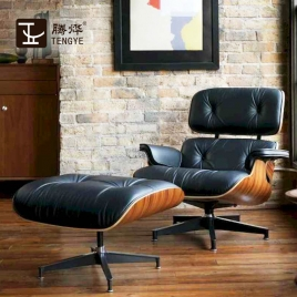 China Tengye furniture Eames chair light white + black leather supply of Chinese factory company