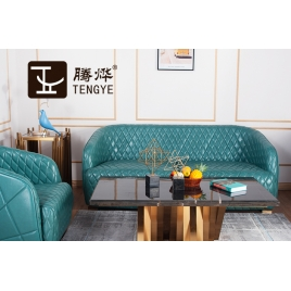 China Tengye light luxury leather stainless steel triple double single sofa China factory supply company